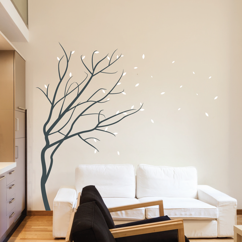 Windy Winter Blossom Tree Wall Sticker