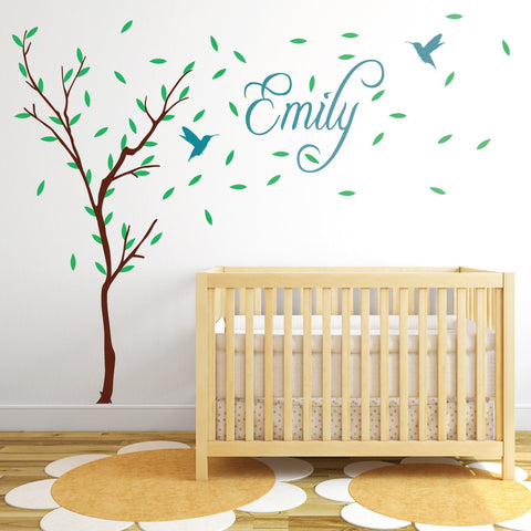 Charming Childrens Tree With Personalised Name Wall Sticker Part 28