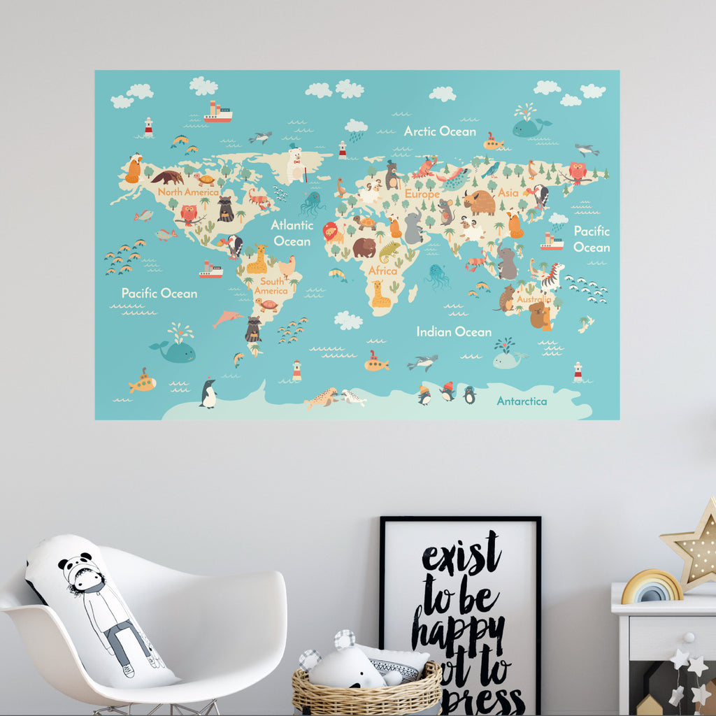 Re positionable kids world map wallboss wall stickers wall art kids world map countries animals educational gumiabroncs Images