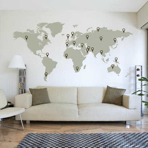 Large World Map Wall Decal Part 45