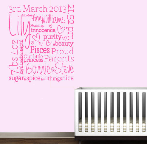 Personalised Baby Birth Wall Decal