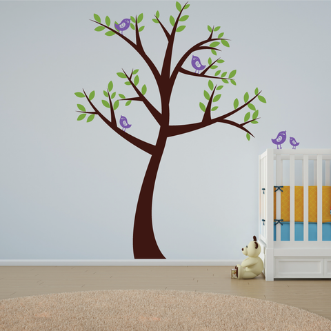 Big Nursery Tree With Birds Wall Sticker