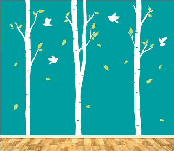 Birch Trees And Birds Wall Stickers