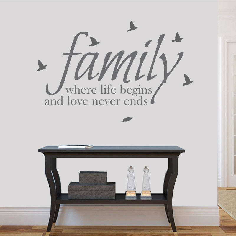 where life beings love never ends family wall sticker decal quote
