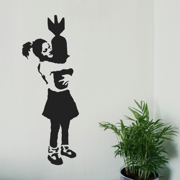 Banksy Girl Bomb Hugger Wall Sticker