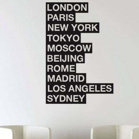 10 cities of the world uk wall sticker