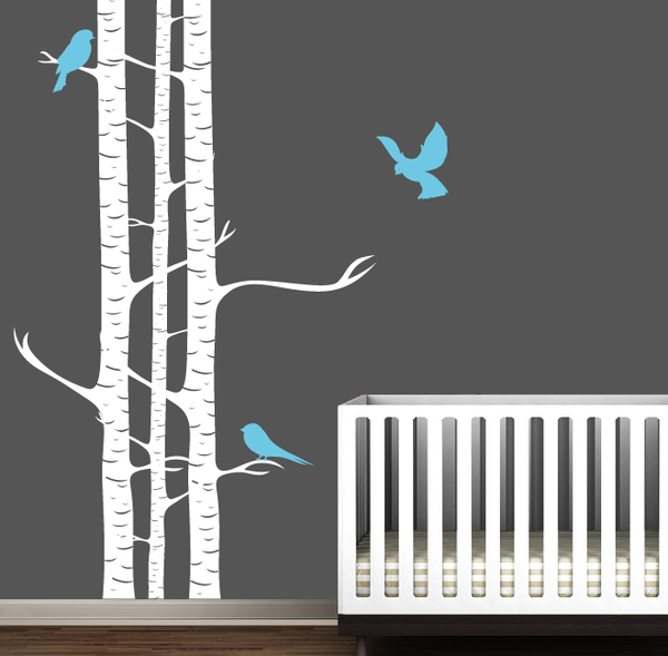 Childrens Birch Trees With Birds Wall Stickers
