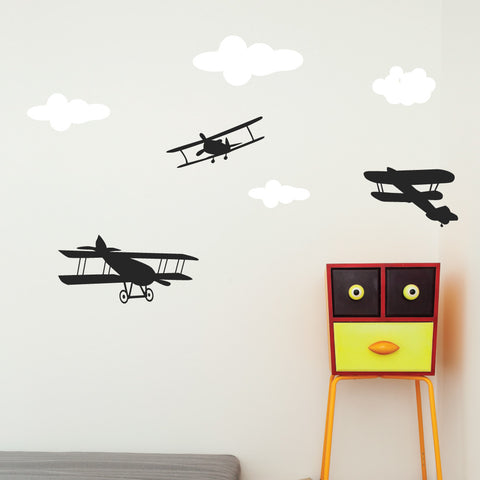 Plane and cloud wall decals