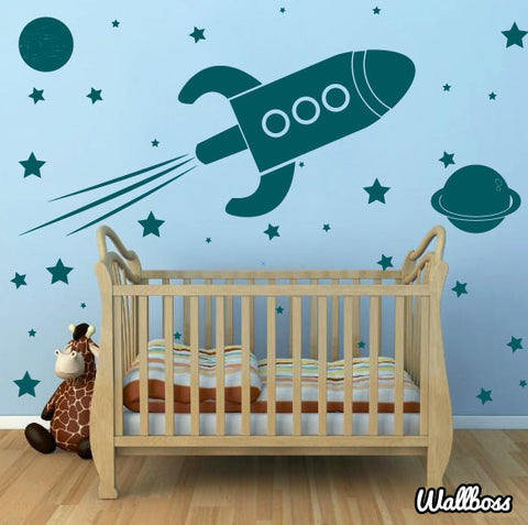 Rocket Ship Wall Stickers