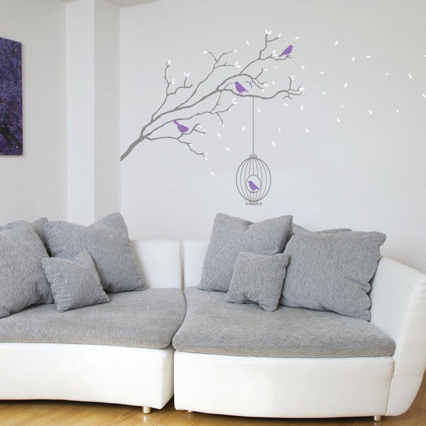 Winter Branch With Bird Cage Wall Vinyl