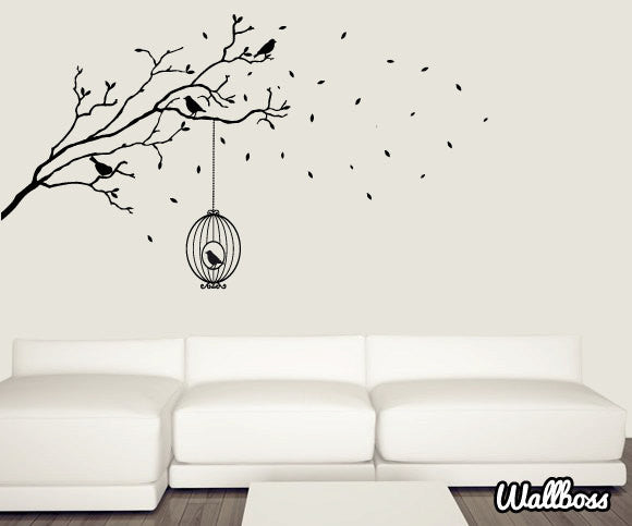 Branch With Bird Cage Wall Stickers