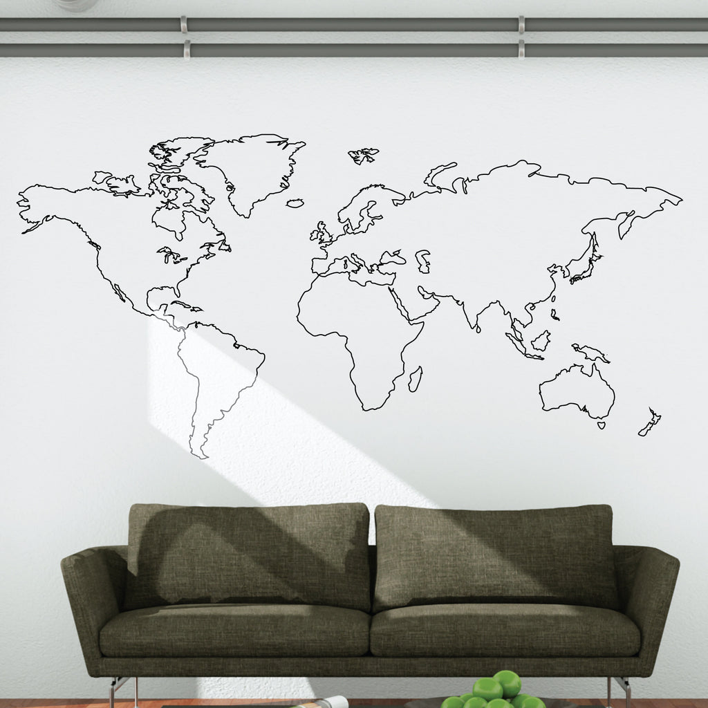 World map outline wall decal wallboss wall stickers wall art world map outline wall decal gumiabroncs Image collections
