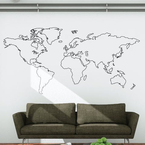 World map wall stickers vinyl wallboss wall stickers wall art world map outline wall decal gumiabroncs Image collections