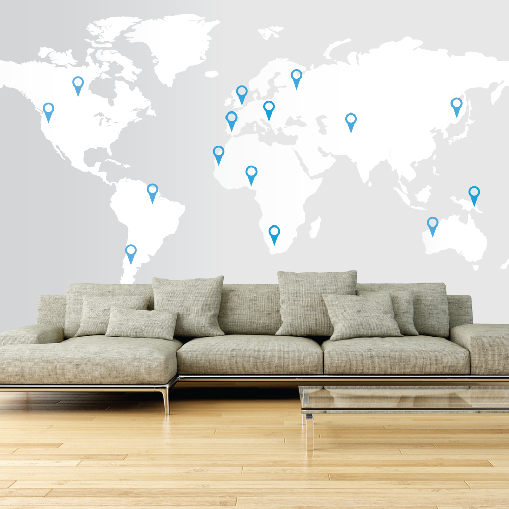 Delightful Large World Map Wall Decal