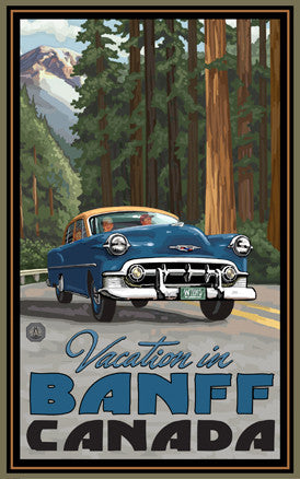 Banff National Park Vacation In Vintage Car Poster Pal