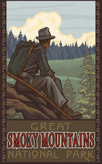 Great Smoky Mountains National Park / Sitting Hiker Poster • PAL-2704