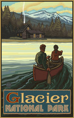 Glacier National Park / Canoeing Toward Cabin Poster • PAL-4042