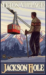 Grand Teton National Park / Teton Village Skier Poster • PAL-0058