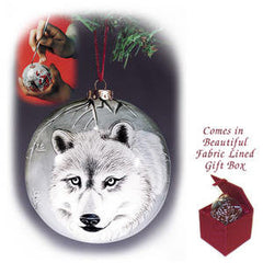 Hand Painted Wolf Ornament • #FIG 1010