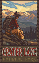 Crater Lake National Park / Sitting Hiker Poster • PAL-1992
