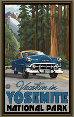 Yosemite National Park / Vacation In Blue Car Poster • PAL-2586