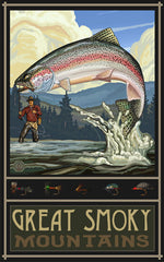 Great Smoky Mountains National Park / Fisherman And Caught Salmon Poster • PAL-2597
