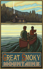 Great Smoky Mountains National Park / Canoe Toward Cabin Poster • PAL-2604