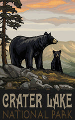 Crater Lake National Park / Black Bear With Cub Poster • PAL-2681