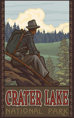 Crater Lake National Park / Sitting Hiker Alternate Poster • PAL-2683