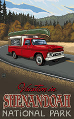 Shenandoah National Park/Vacation With Red Car Poster • PAL-2699