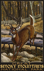 Great Smoky Mountains National Park / Jumping Deer Poster • PAL-2703