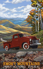 Great Smoky Mountains National Park / Red Truck Poster • PAL-2705