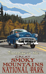 Great Smoky Mountains National Park / Vacation With Blue Car Poster • PAL-2709