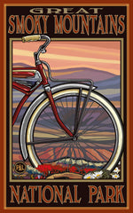 Great Smoky Mountains National Park / Red Bike Tire Poster • PAL-2715