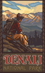 Denali National Park / Sitting Hiker Poster • PAL-3054