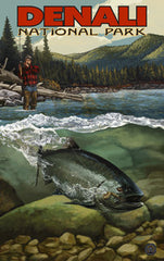 Denali National Park / Underwater Caught Fish Poster • PAL-3057
