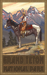 Grand Teton National Park / Cowgirl On Horse Poster • PAL-0414