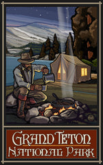 Grand Teton National Park / Man By Cooking Campfire Poster • PAL-0589
