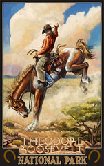 Theodore Roosevelt National Park/Cowboy On Bucking Horse Poster • PAL-0811