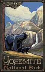 Yosemite National Park/Black Bear And Cubs Poster • PAL-0095