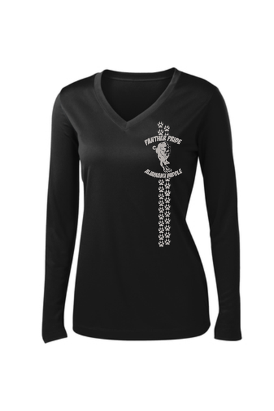 Aliamanu Middle Staff - Ladies Long Sleeve PosiCharge V-Neck Tee (LST353LS) Design #2