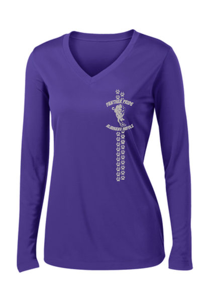 Aliamanu Middle School Staff - Sport-Tek Ladies Long Sleeve PosiCharge Competitor V-Neck Tee LST353LS ***NEW***