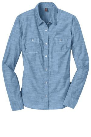 New!  District Made® - Ladies Long Sleeve Washed Woven Shirt. DM4800.