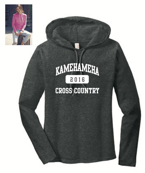 Kamehameha Cross Country - Anvil® Ladies Hooded Long Sleeve T-Shirt - Charcoal Heather (887L)