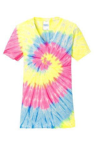 KAPUNAHALA STAFF ONLY - Ladies Tie-Dye V-Neck Tee - LPC147V