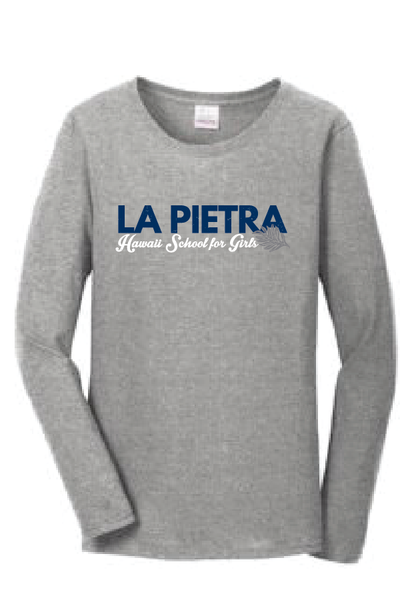 La Pietra - Hawaii School for Girls - Ladies Cotton Long Sleeve Sport Grey