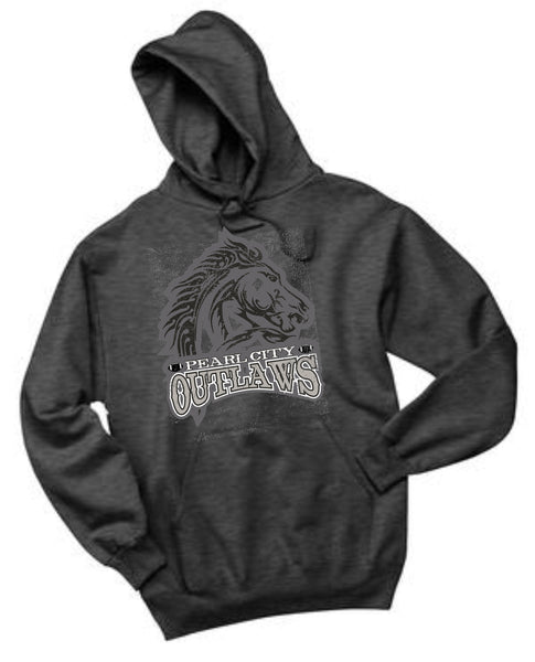 Pearl City Outlaws - Fleece Pullover Hoodie - Charcoal Heather