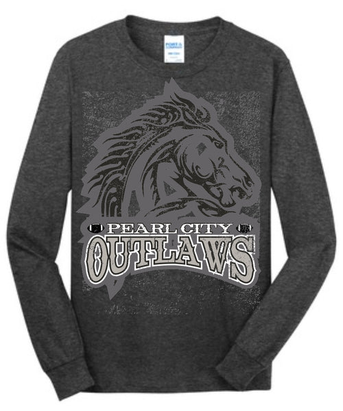 Pearl City Outlaws - Long Sleeve Core Cotton Tee - Charcoal Heather