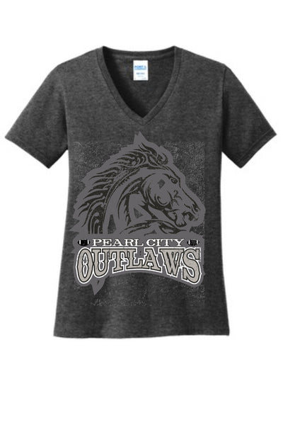 Pearl City Outlaws - Ladies Core Cotton V-neck - Charcoal Heather