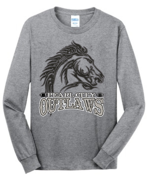 Pearl City Outlaws - Long Sleeve Core Cotton Tee - Ath. Heather